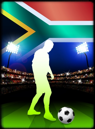South African Soccer Player in Stadium Match