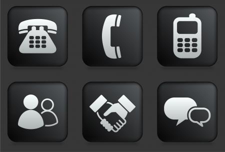 Iconos de la comunicación en la Plaza Negro colección de botón Ilustración original Foto de archivo - 22361978