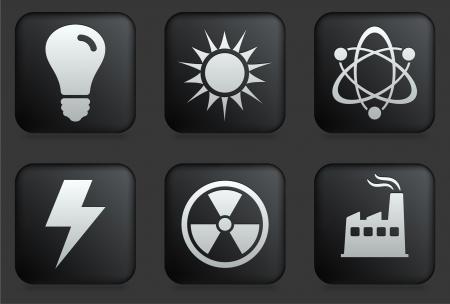 sun energy: Ecology Icons on Square Black Button Collection Original Illustration Illustration