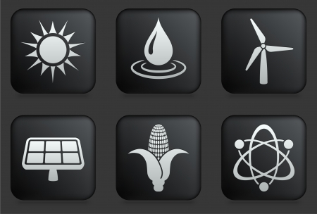 energy buttons: Conservation Icons on Square Black Button Collection Original Illustration