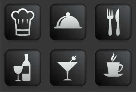 Restaurant Icons on Square Black Button Collection Original Illustration Ilustração