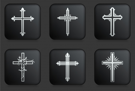 Cross Icons on Square Black Button CollectionOriginal Illustration