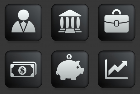 Economy Icons on Square Black Button Collection Original Illustration Vector