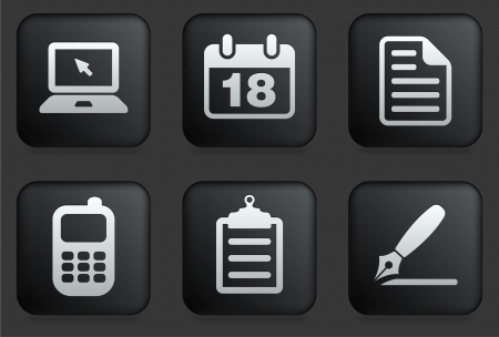 calendar icon: Equipment Icons on Square Black Button Collection Original Illustration