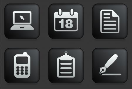 Equipment Icons on Square Black Button CollectionOriginal Illustration Vectores