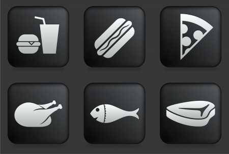 Fast Food Icons on Square Black Button Collection