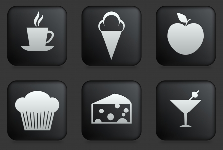 Dessert Icons on Square Black Button Collection