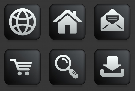 shopping cart icon: Internet Icons on Square Black Button Collection Original Illustration Illustration