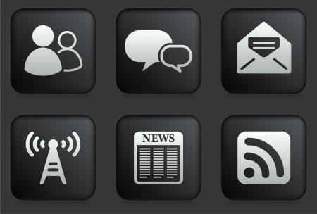 Communication Icons on Square Black Button CollectionOriginal Illustration