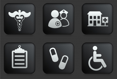 Hospital Icons on Square Black Button Collection Original Illustration Vector