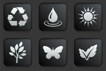 water wings: Ecology Icons on Square Black Button Collection Original Illustration Illustration