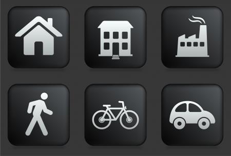 house icon: Environment Icons on Square Black Button Collection Original Illustration Illustration