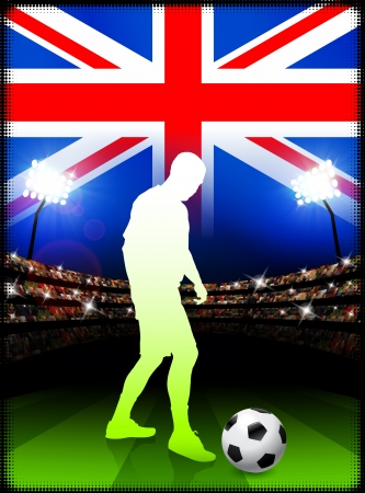 British Soccer Player in Stadium Match Original Illustration Vector