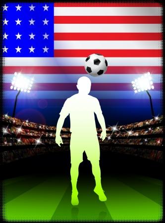 United States Soccer Player in Stadium Match Original Illustration