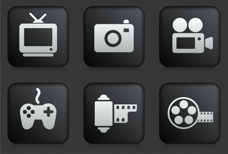 camera icon: Media Icons on Square Black Button Collection Original Illustration