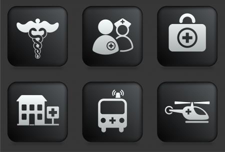 Emergency pictogrammen op vierkante Zwarte Knoop Collection Originele illustratie