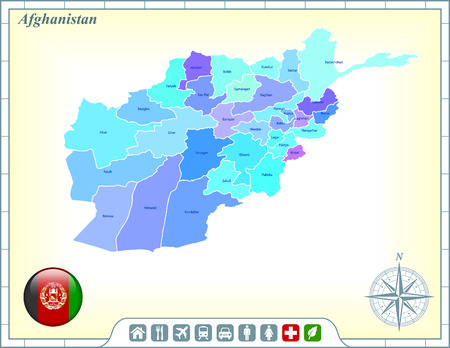 Afghanistan Map with Flag Buttons and Assistance & Activates Icons Vector