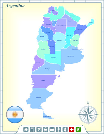 Argentina Map with Flag Buttons and Assistance & Activates Icons Vector