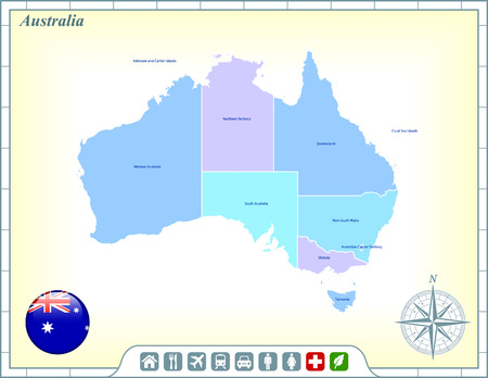 Australia Map with Flag Buttons and Assistance & Activates Icons Vector