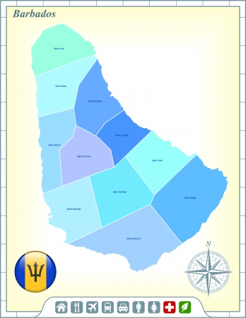 Barbados Map with Flag Buttons and Assistance & Activates Icons