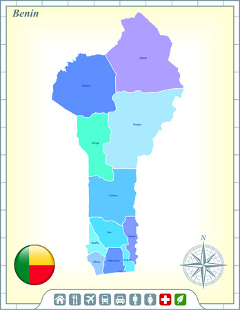 Benin Map with Flag Buttons and Assistance & Activates Icons Vector