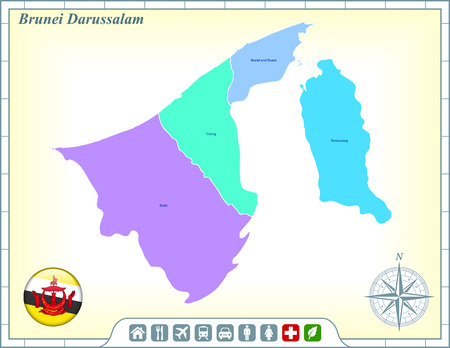 brunei darussalam: Brunei Darussalam Map with Flag Buttons and Assistance & Activates Icons