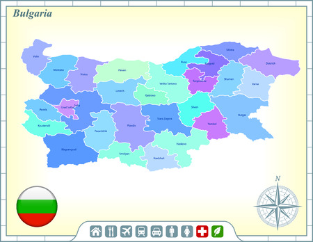 Bulgaria Map with Flag Buttons and Assistance & Activates Icons