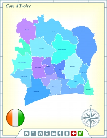 Cote Divoire Map with Flag Buttons and Assistance & Activates Icons Vector