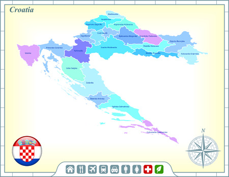 Croatia Map with Flag Buttons and Assistance & Activates Icons