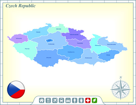 Czech Republic Map with Flag Buttons and Assistance & Activates Icons Ilustracja