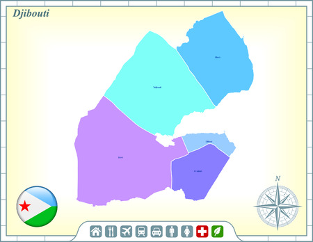 Djibouti Map with Flag Buttons and Assistance & Activates Icons Illustration
