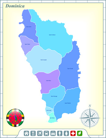 Dominica  Map with Flag Buttons and Assistance & Activates Icons Vector