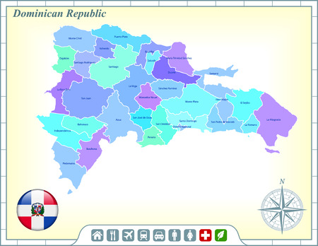 Dominican Republic Map with Flag Buttons and Assistance & Activates Icons Vector