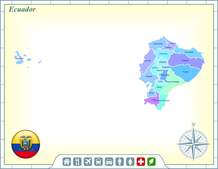 Ecuador Map with Flag Buttons and Assistance & Activates Icons 向量圖像
