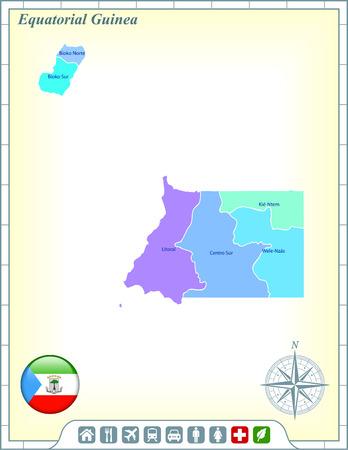 guinea equatoriale: Guinea Equatoriale Mappa con pulsanti di bandiera e Assistenza Attiva & Icons
