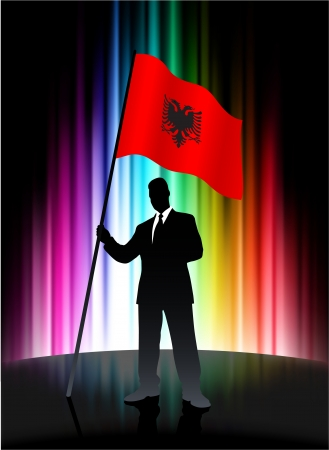 Albania Flag with Businessman on Abstract Spectrum Background Vector