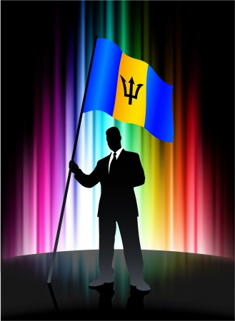 Barbados Flag with Businessman on Abstract Spectrum Background