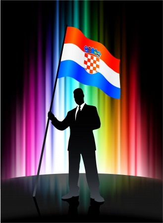 Croatia Flag with Businessman on Abstract Spectrum Background