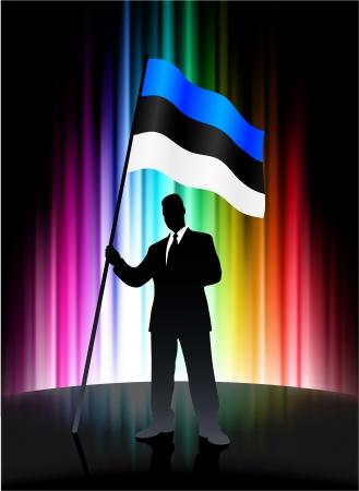 抽象的なスペクトルの背景に実業家とエストニアの旗