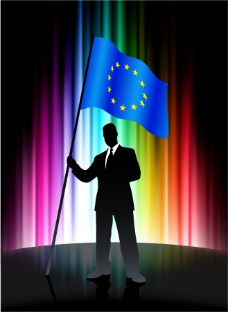 European Union Flag with Businessman on Abstract Spectrum Background