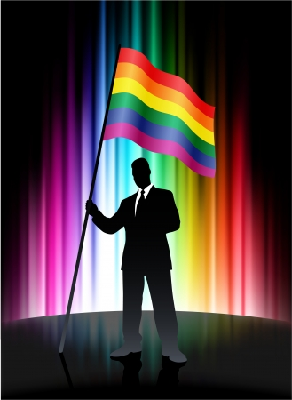 Gay Flag with Businessman on Abstract Spectrum Background 矢量图像