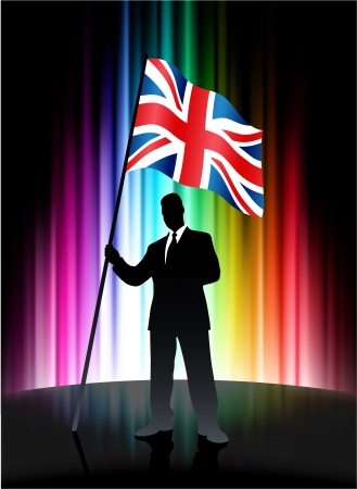 Great Britain Flag with Businessman on Abstract Spectrum Background Stock Vector - 22420341