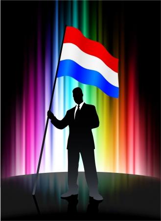 holanda bandera: Bandera de Holanda con el empresario en abstracto Spectrum de fondo Vectores