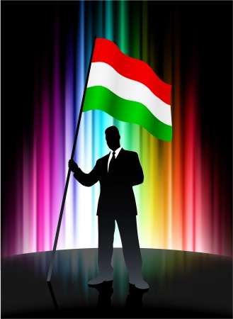 Hungary Flag with Businessman on Abstract Spectrum Background