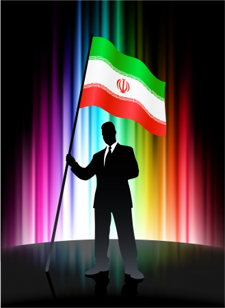 Iran Flag with Businessman on Abstract Spectrum Background Stock Vector - 22420367