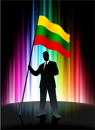 lithuania flag: Lithuania Flag with Businessman on Abstract Spectrum Background Illustration