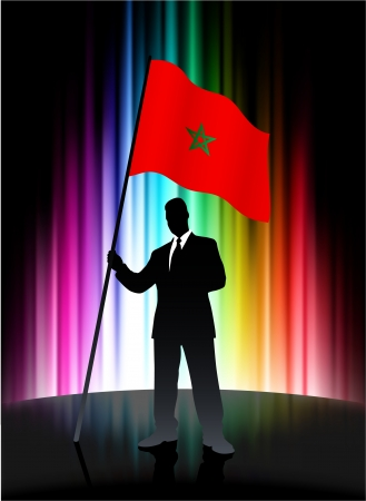 Morocco Flag with Businessman on Abstract Spectrum Background Illusztráció