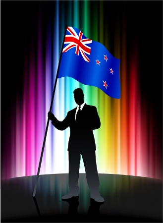 new zealand flag: Bandiera della Nuova Zelanda con businessman su sfondo astratto di spettro