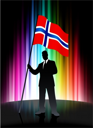 norway flag: Norway Flag with Businessman on Abstract Spectrum Background Illustration