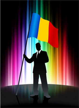 Romania Flag with Businessman on Abstract Spectrum Background 일러스트